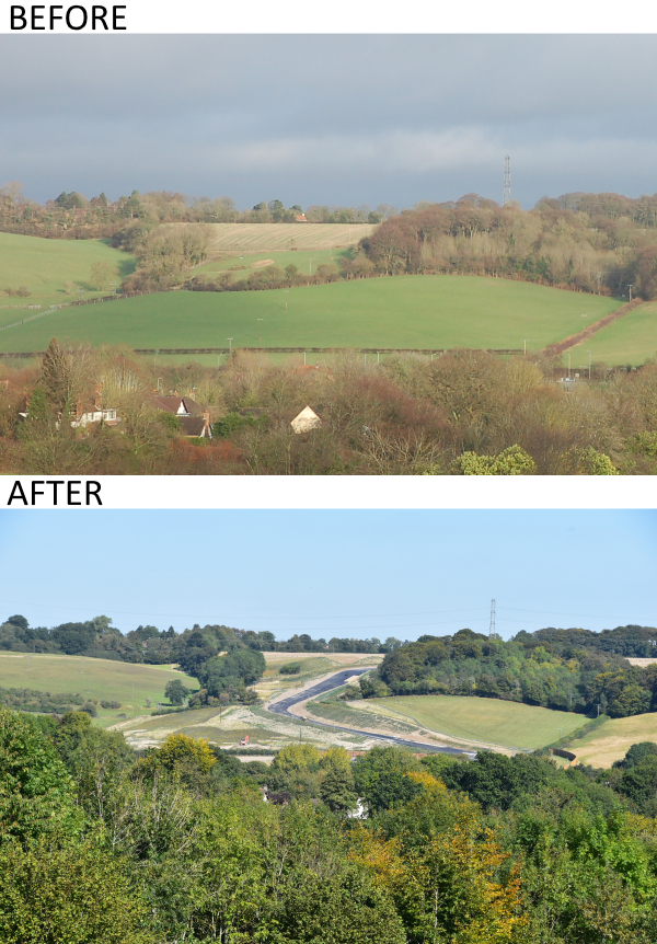 Photos from 2015 vs. September 2019 taken from Angling Spring Wood public footpath.  After photo shows new HS2 road constructed from the Great Missenden Link Road  roundabout to take construction traffic to tunnel portal